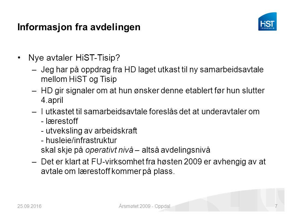 Informasjon fra avdelingen Nye avtaler HiST-Tisip.