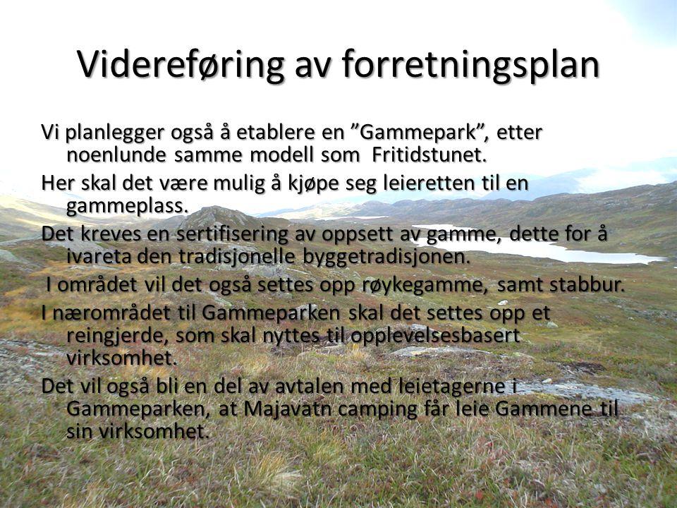 Videreføring av forretningsplan Vi planlegger også å etablere en Gammepark , etter noenlunde samme modell som Fritidstunet.
