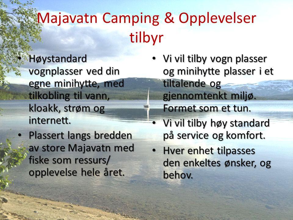 Majavatn Camping & Opplevelser tilbyr Høystandard vognplasser ved din egne minihytte, med tilkobling til vann, kloakk, strøm og internett.