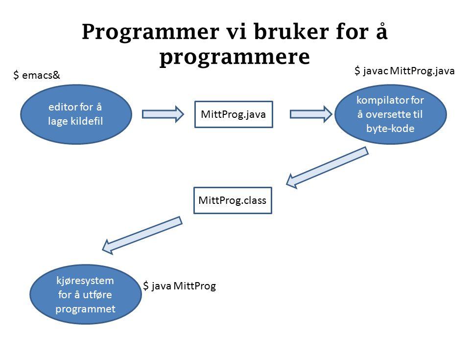 Programmer vi bruker for å programmere editor for å lage kildefil kjøresystem for å utføre programmet kompilator for å oversette til byte-kode $ emacs& $ javac MittProg.java $ java MittProg MittProg.java MittProg.class