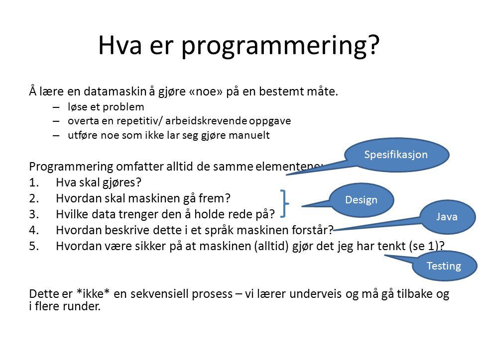 Hva er programmering. Å lære en datamaskin å gjøre «noe» på en bestemt måte.
