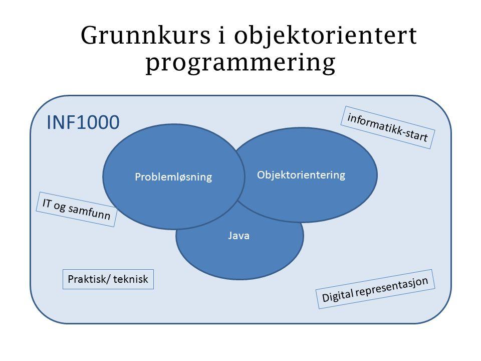 INF1000 programmering Java Objektorientering Problemløsning Digital representasjon informatikk-start IT og samfunn Grunnkurs i objektorientert Praktisk/ teknisk