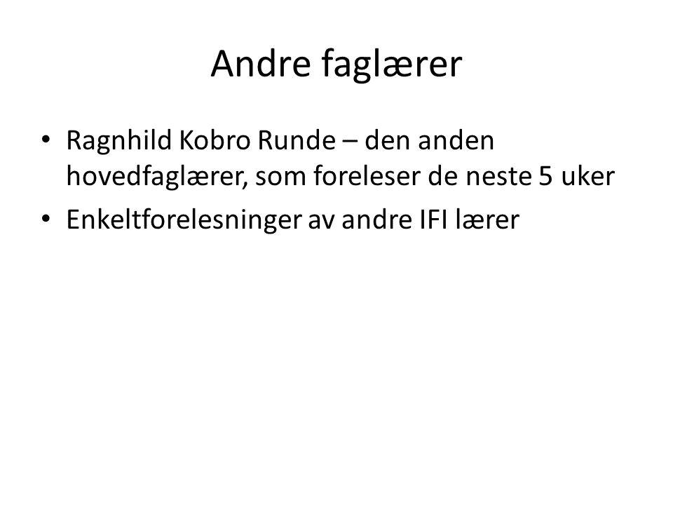 Andre faglærer Ragnhild Kobro Runde – den anden hovedfaglærer, som foreleser de neste 5 uker Enkeltforelesninger av andre IFI lærer