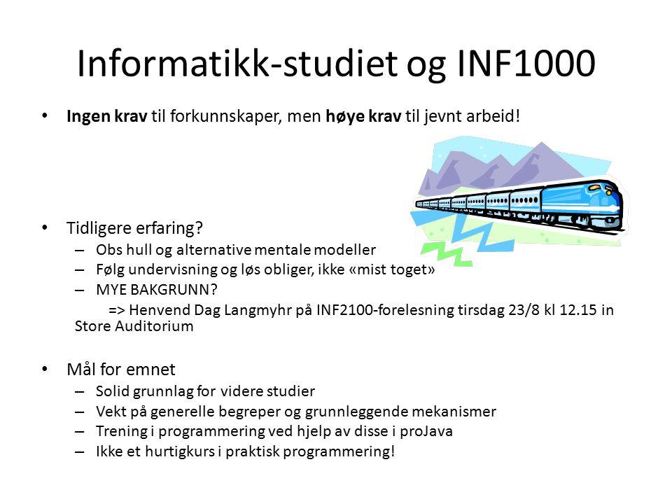 Skrive ut en linje class Uke01 { public static void main (String [] args) { // Skriver ut en tekst til brukerens skjerm: System.out.println ( Velkommen til INF1000! ); }