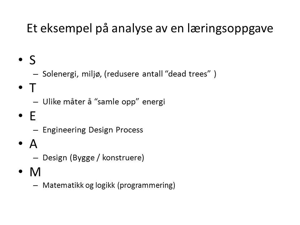 Et eksempel på analyse av en læringsoppgave S – Solenergi, miljø, (redusere antall dead trees ) T – Ulike måter å samle opp energi E – Engineering Design Process A – Design (Bygge / konstruere) M – Matematikk og logikk (programmering)