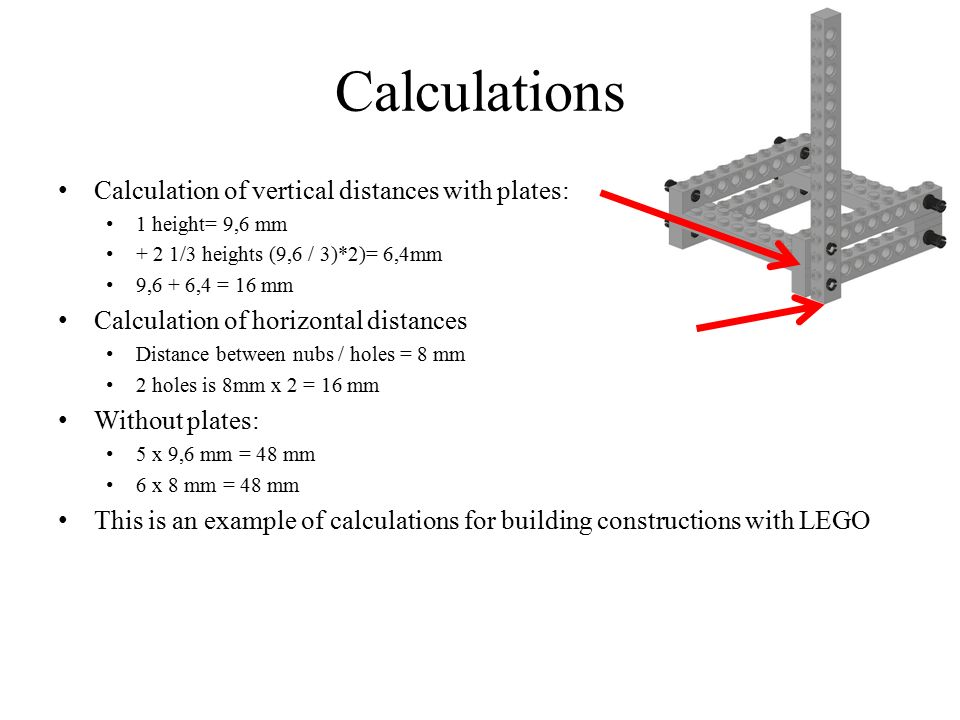 Calculations Calculation of vertical distances with plates: 1 height= 9,6 mm + 2 1/3 heights (9,6 / 3)*2)= 6,4mm 9,6 + 6,4 = 16 mm Calculation of hori