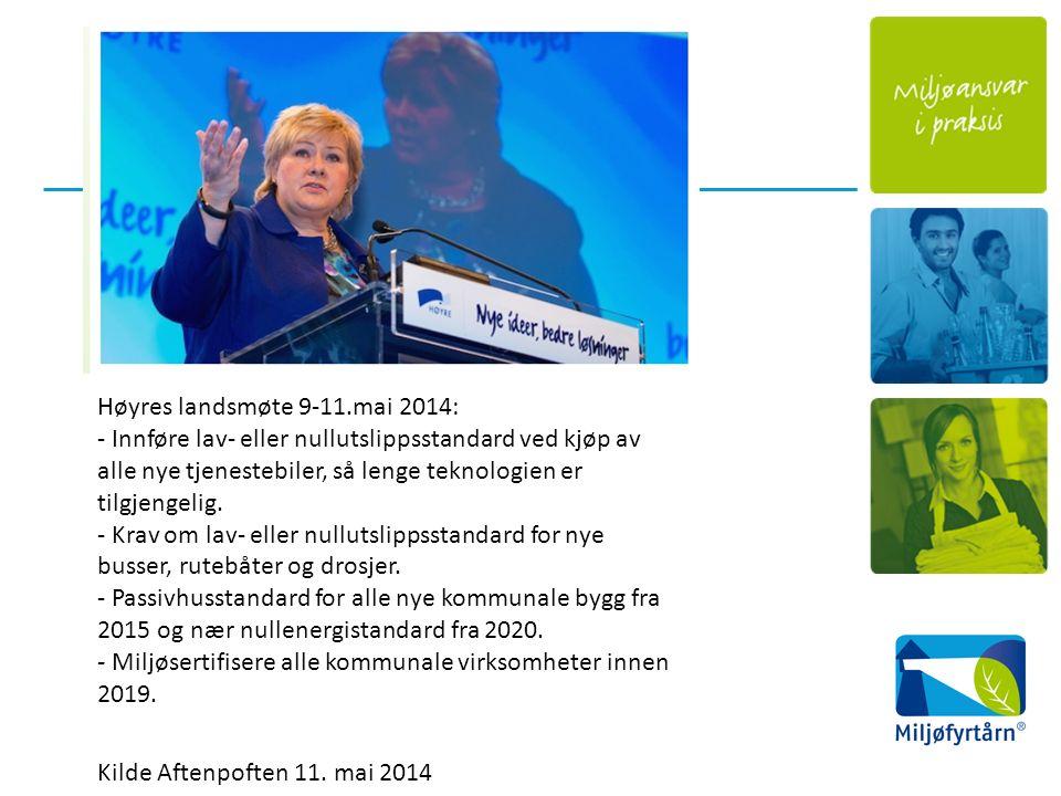 Høyres landsmøte 9-11.mai 2014: - Innføre lav- eller nullutslippsstandard ved kjøp av alle nye tjenestebiler, så lenge teknologien er tilgjengelig.