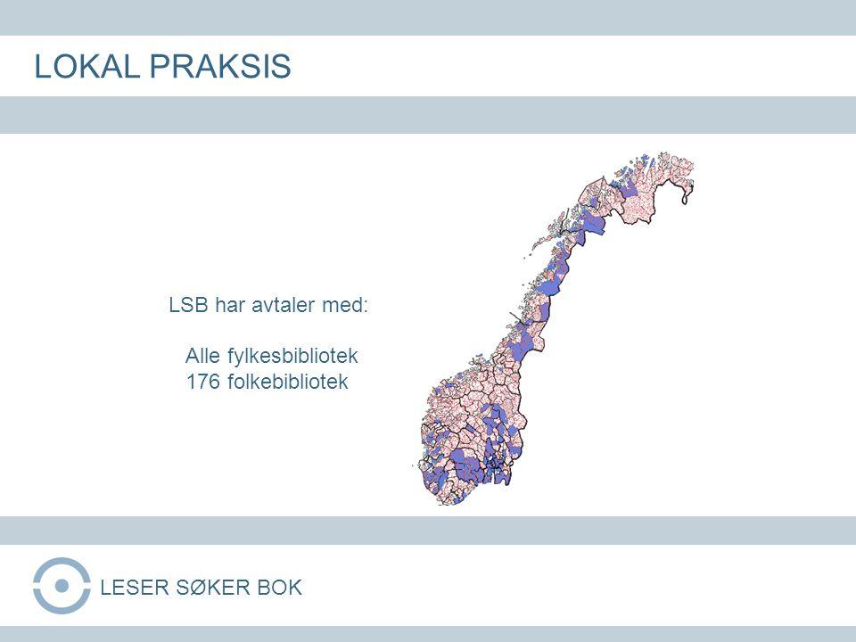 LSB har avtaler med: Alle fylkesbibliotek 176 folkebibliotek LOKAL PRAKSIS LESER SØKER BOK