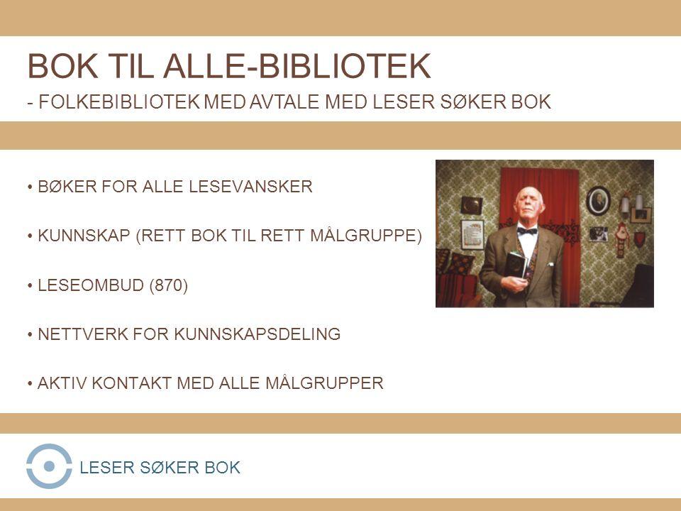 BØKER FOR ALLE LESEVANSKER KUNNSKAP (RETT BOK TIL RETT MÅLGRUPPE) LESEOMBUD (870) NETTVERK FOR KUNNSKAPSDELING AKTIV KONTAKT MED ALLE MÅLGRUPPER BOK TIL ALLE-BIBLIOTEK - FOLKEBIBLIOTEK MED AVTALE MED LESER SØKER BOK LESER SØKER BOK