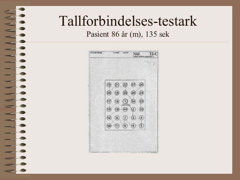 Tallforbindelses-testark Pasient 86 år (m), 135 sek