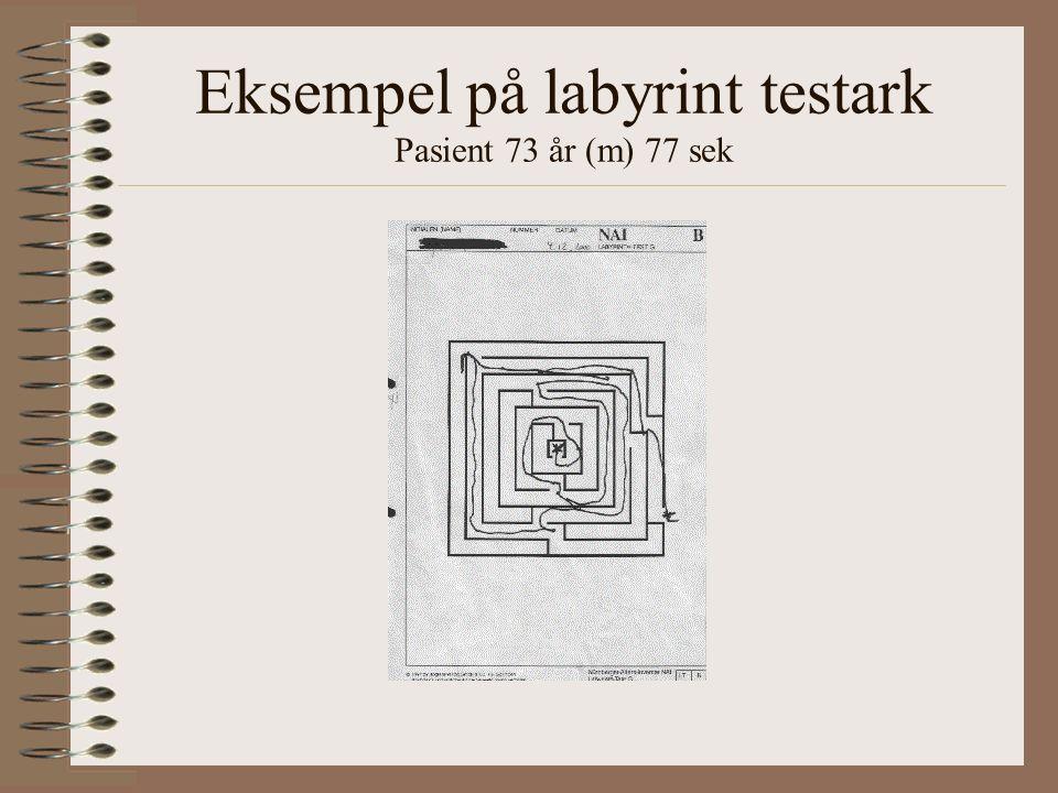 Eksempel på labyrint testark Pasient 73 år (m) 77 sek