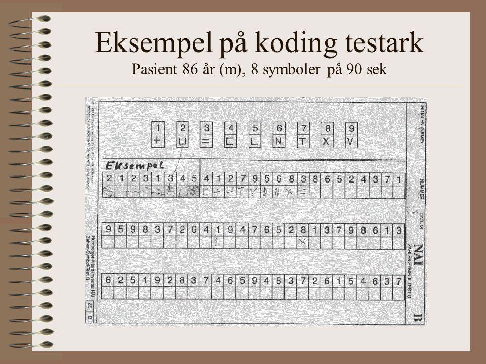 Eksempel på koding testark Pasient 86 år (m), 8 symboler på 90 sek