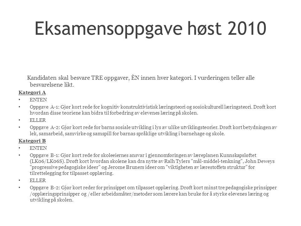 Eksamensoppgave høst 2010 Kandidaten skal besvare TRE oppgaver, ÈN innen hver kategori.