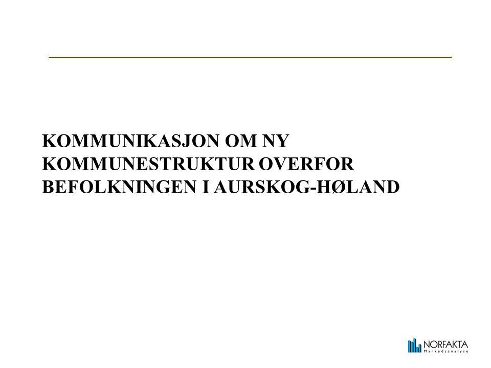KOMMUNIKASJON OM NY KOMMUNESTRUKTUR OVERFOR BEFOLKNINGEN I AURSKOG-HØLAND