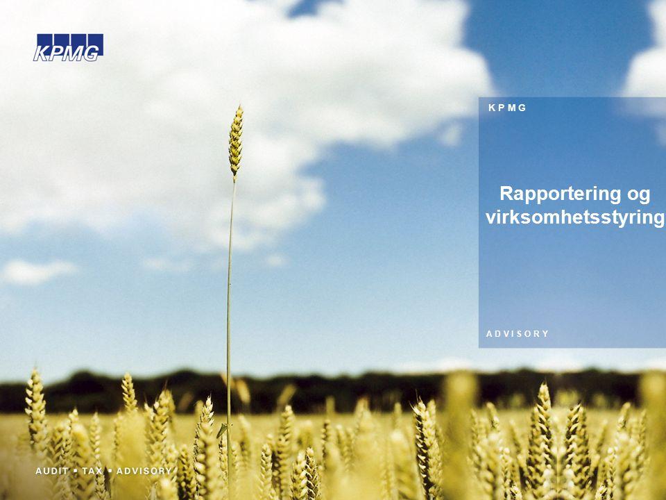 K P M G A D V I S O R Y Rapportering og virksomhetsstyring