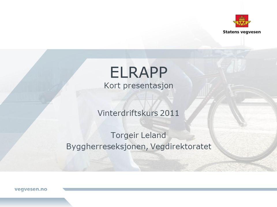 ELRAPP Kort presentasjon Vinterdriftskurs 2011 Torgeir Leland Byggherreseksjonen, Vegdirektoratet