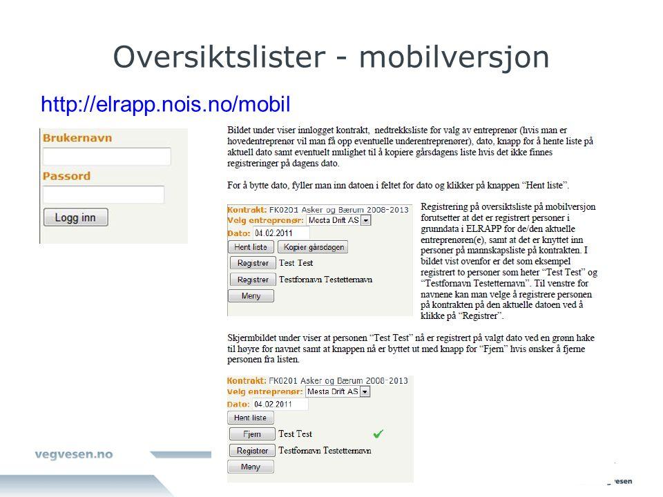 Oversiktslister - mobilversjon http://elrapp.nois.no/mobil
