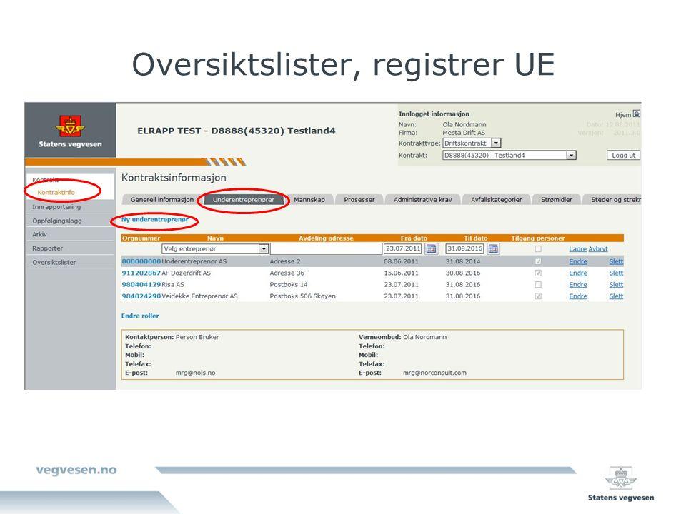 Oversiktslister, registrer UE
