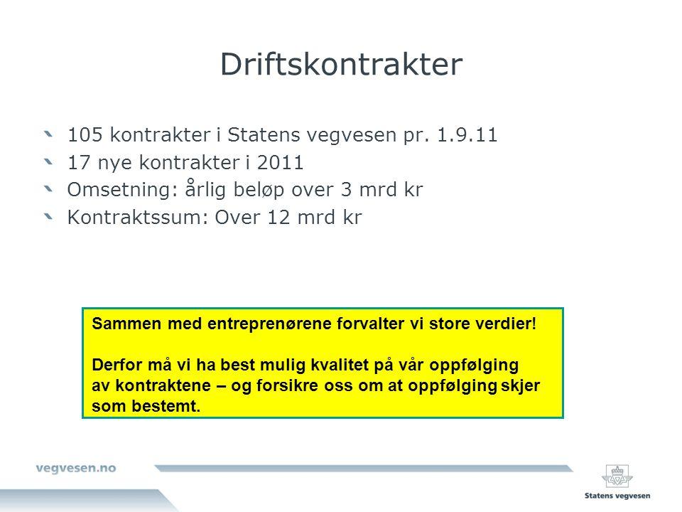Driftskontrakter 105 kontrakter i Statens vegvesen pr.