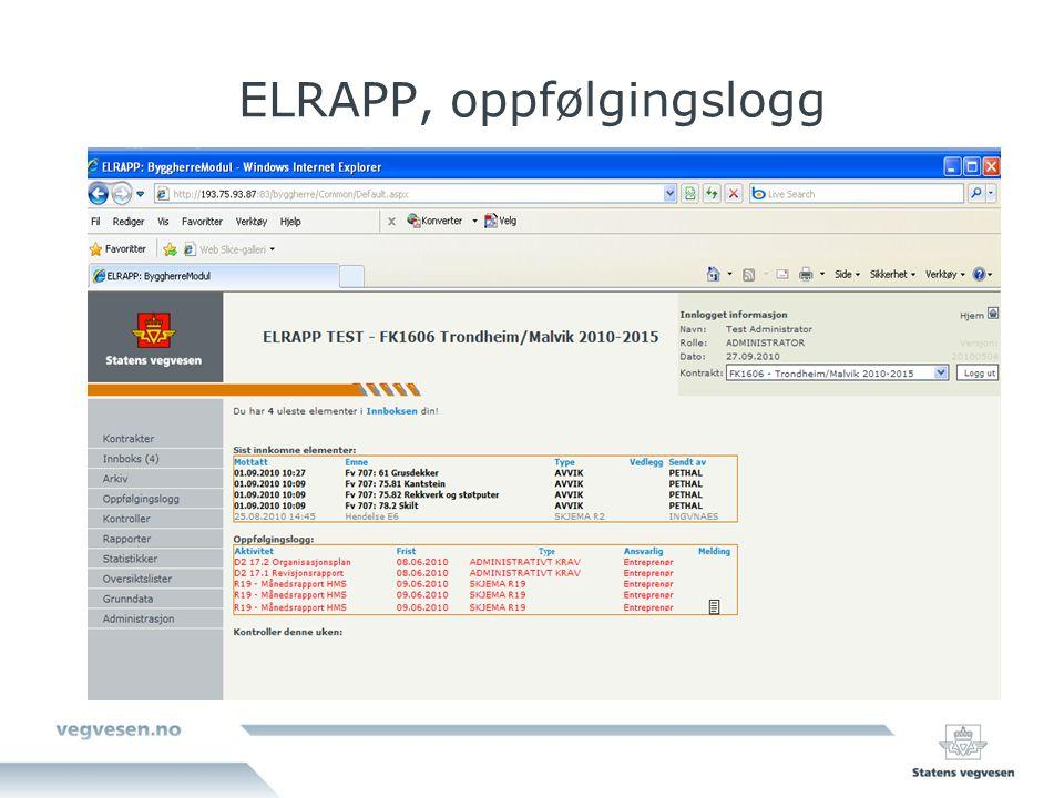 ELRAPP, oppfølgingslogg