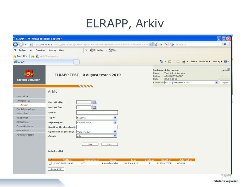 ELRAPP, Arkiv