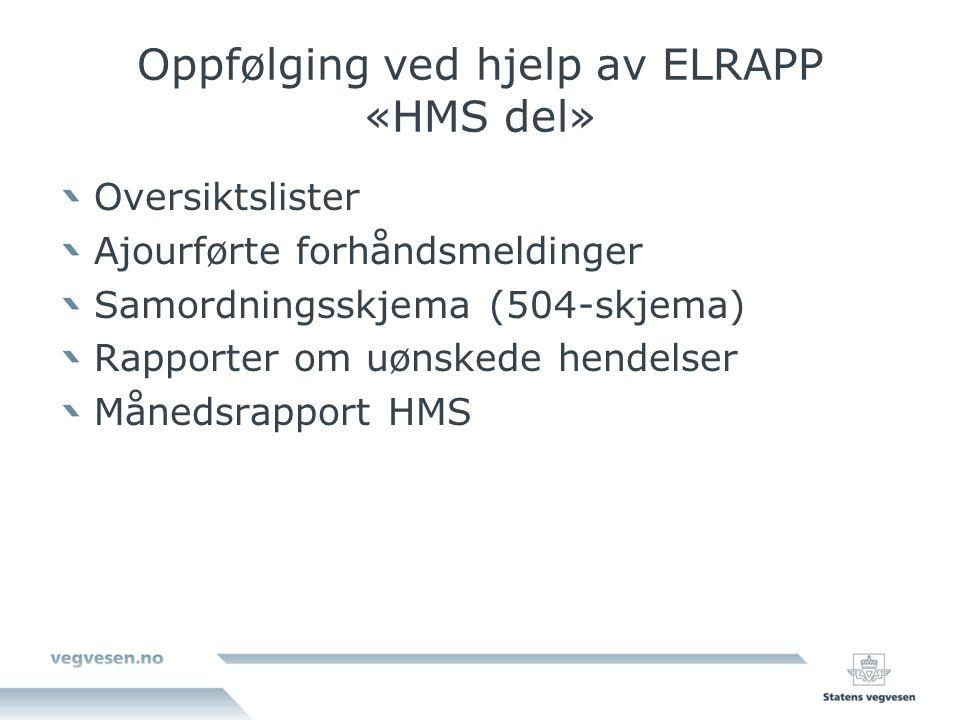 Oppfølging ved hjelp av ELRAPP «HMS del» Oversiktslister Ajourførte forhåndsmeldinger Samordningsskjema (504-skjema) Rapporter om uønskede hendelser Månedsrapport HMS