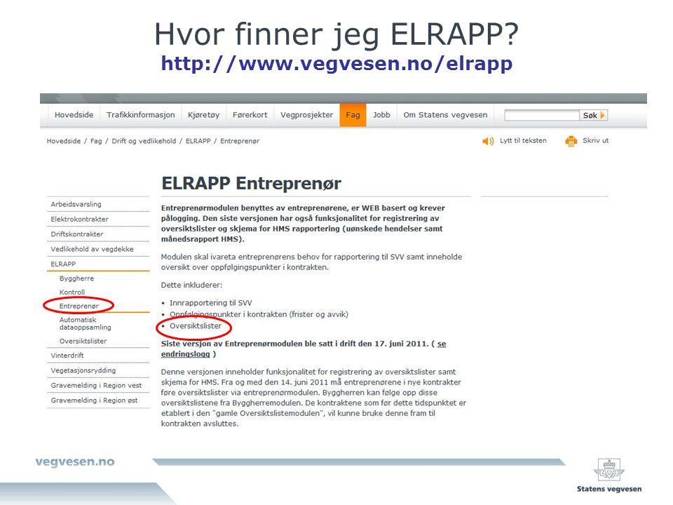 Hvor finner jeg ELRAPP http://www.vegvesen.no/elrapp