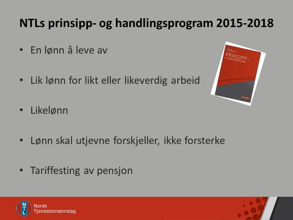 NTLs prinsipp- og handlingsprogram 2015-2018 En lønn å leve av Lik lønn for likt eller likeverdig arbeid Likelønn Lønn skal utjevne forskjeller, ikke forsterke Tariffesting av pensjon