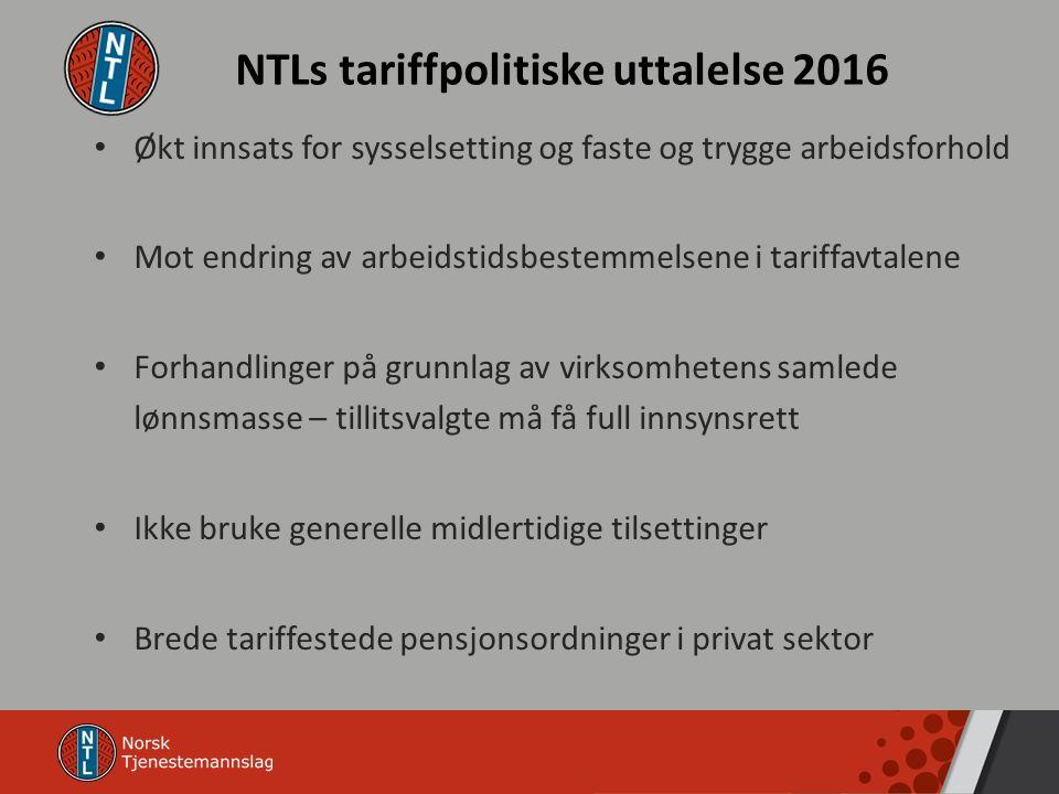 NTLs tariffpolitiske uttalelse 2016 Økt innsats for sysselsetting og faste og trygge arbeidsforhold Mot endring av arbeidstidsbestemmelsene i tariffav