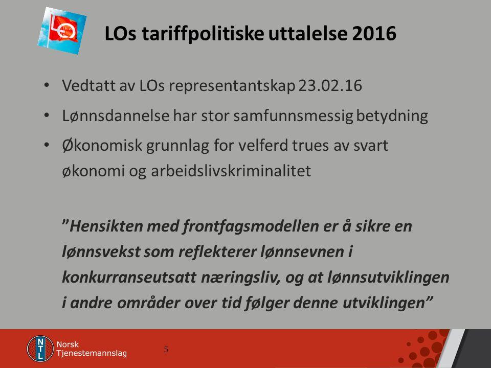 5 LOs tariffpolitiske uttalelse 2016 Vedtatt av LOs representantskap 23.02.16 Lønnsdannelse har stor samfunnsmessig betydning Økonomisk grunnlag for v