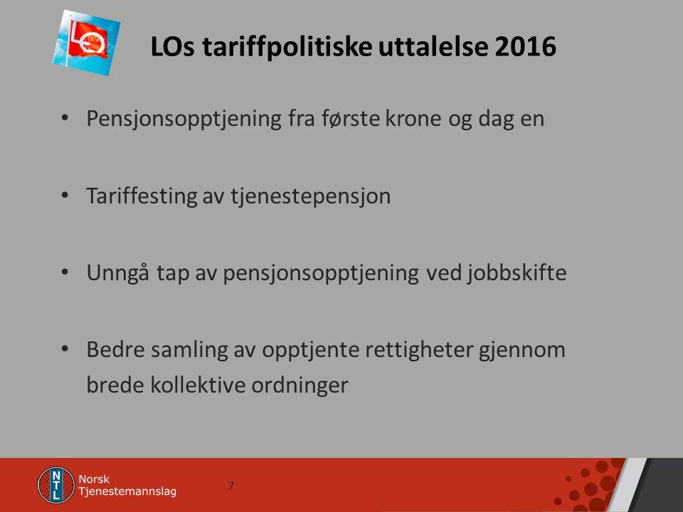 7 LOs tariffpolitiske uttalelse 2016 Pensjonsopptjening fra første krone og dag en Tariffesting av tjenestepensjon Unngå tap av pensjonsopptjening ved