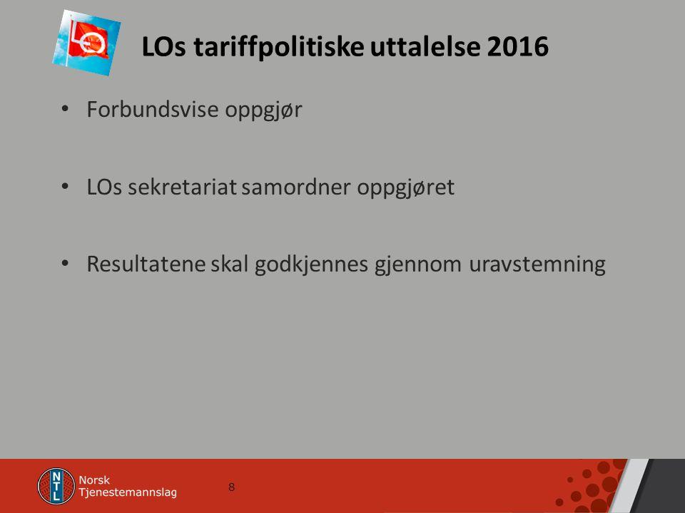 8 LOs tariffpolitiske uttalelse 2016 Forbundsvise oppgjør LOs sekretariat samordner oppgjøret Resultatene skal godkjennes gjennom uravstemning