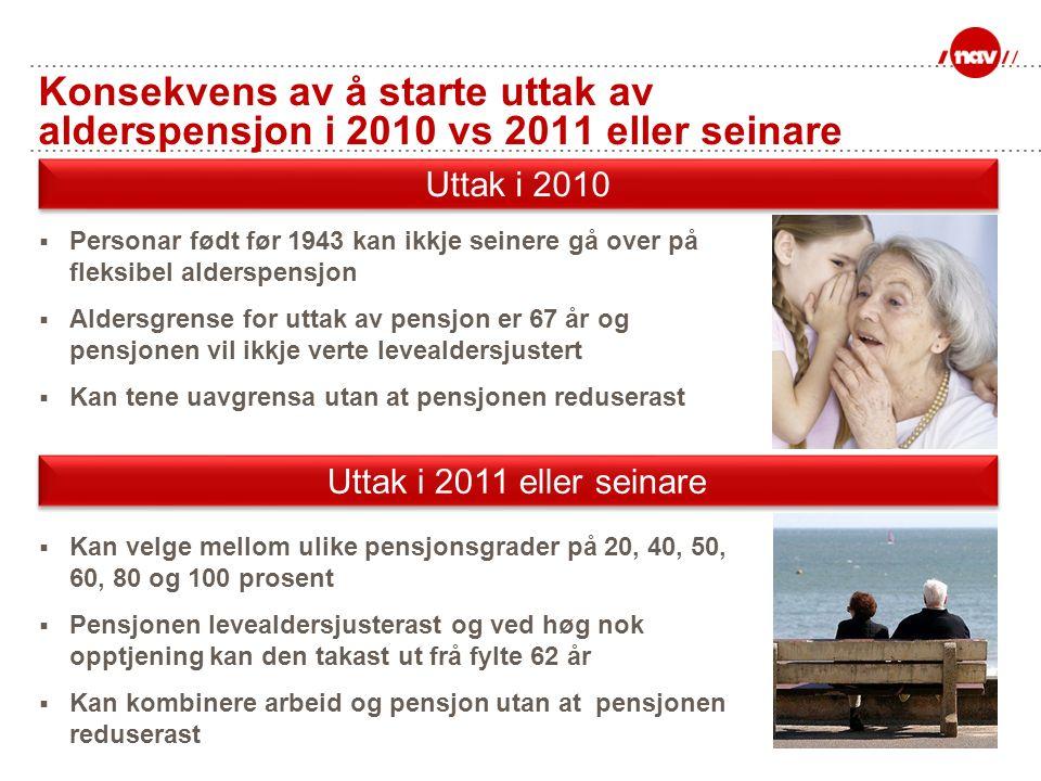 Konsekvens av å starte uttak av alderspensjon i 2010 vs 2011 eller seinare  Personar født før 1943 kan ikkje seinere gå over på fleksibel alderspensj