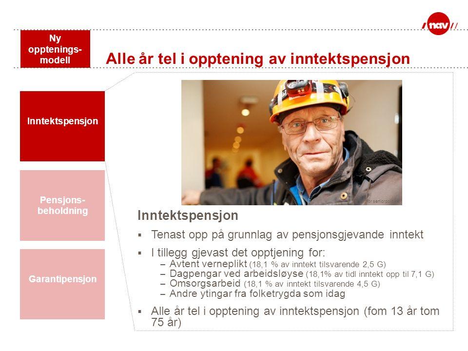 Ny opptenings- modell Pensjons- beholdning Inntektspensjon Garantipensjon Inntektspensjon  Tenast opp på grunnlag av pensjonsgjevande inntekt  I til