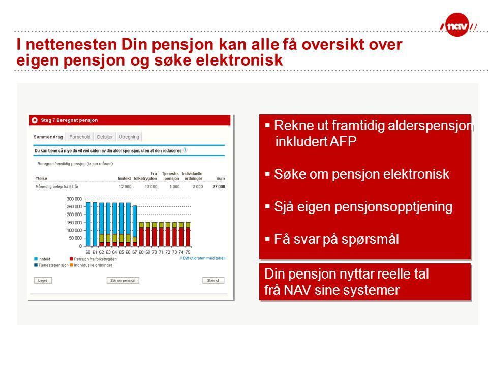 I nettenesten Din pensjon kan alle få oversikt over eigen pensjon og søke elektronisk  Rekne ut framtidig alderspensjon inkludert AFP  Søke om pensj