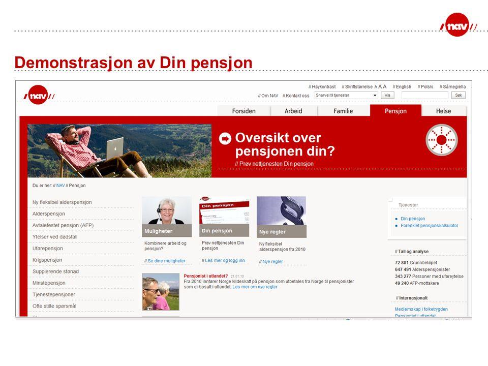 Demonstrasjon av Din pensjon