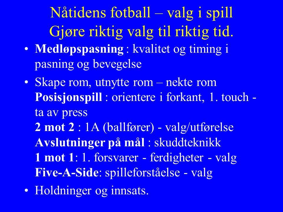 Nåtidens fotball – valg i spill Gjøre riktig valg til riktig tid.