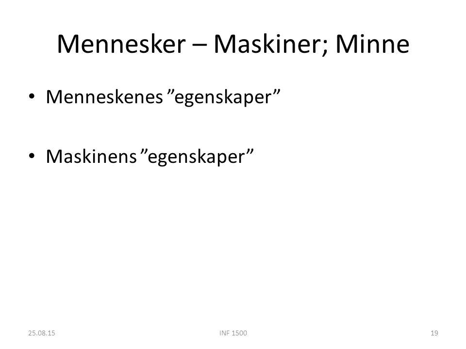Mennesker – Maskiner; Minne Menneskenes egenskaper Maskinens egenskaper 25.08.15INF 150019