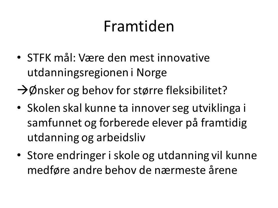 Framtiden STFK mål: Være den mest innovative utdanningsregionen i Norge  Ønsker og behov for større fleksibilitet.