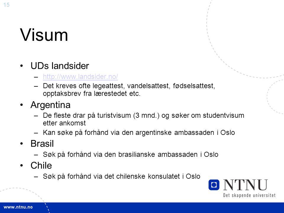 15 Visum UDs landsider –http://www.landsider.no/http://www.landsider.no/ –Det kreves ofte legeattest, vandelsattest, fødselsattest, opptaksbrev fra lærestedet etc.