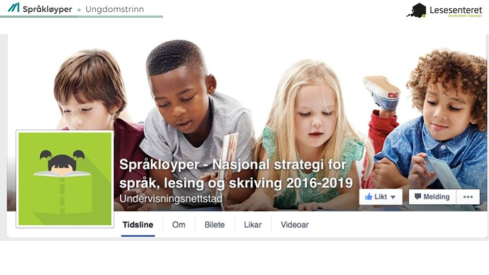 Adressen er Facebook.com/sprakloyper/. Følg oss på Facebook