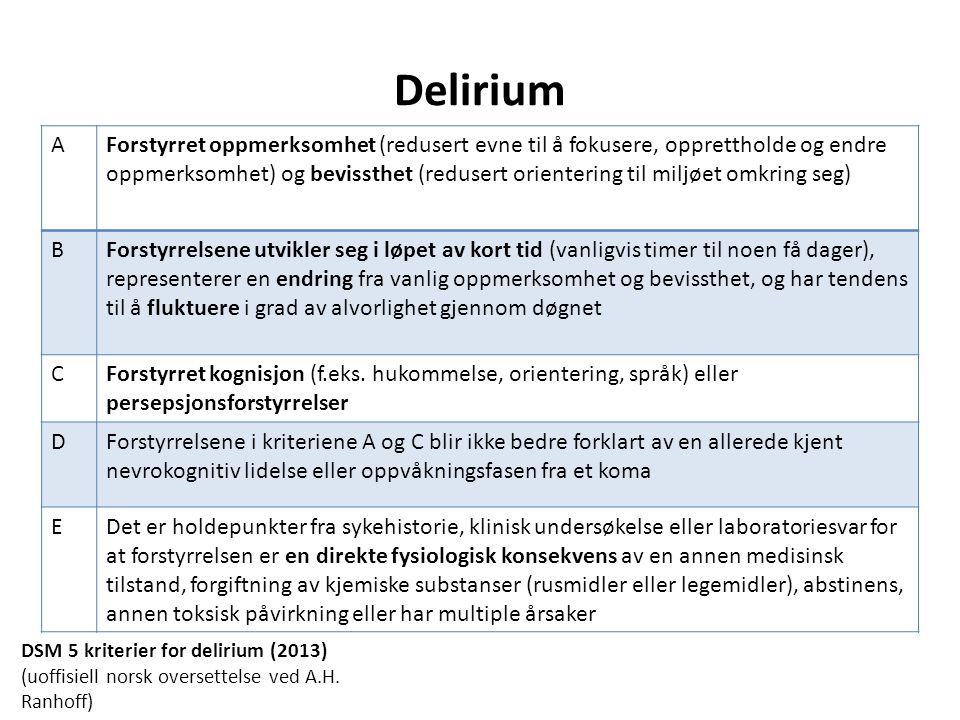 Delirium undergrupper Hyperaktiv – agitasjon, hyperreaktivitet, aggressivitet, hallusinasjoner, vrangforestillinger Hypoaktiv – nedsatt reaksjonsevne, retardasjon av tale og motoriske funksjoner, mimikk fattig Blandet Subsyndromalt Persisterende