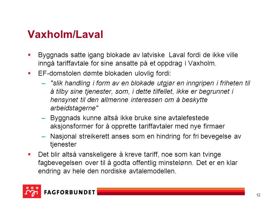 12 Vaxholm/Laval  Byggnads satte igang blokade av latviske Laval fordi de ikke ville inngå tariffavtale for sine ansatte på et oppdrag i Vaxholm.