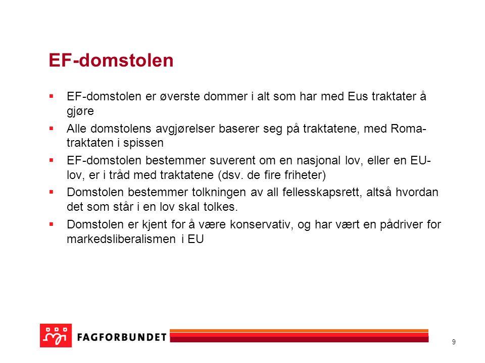 10 Fire viktige EU-dommer Viking-dommen Vaxholm/Laval Rüffert/Niedersachsen Luxemburg