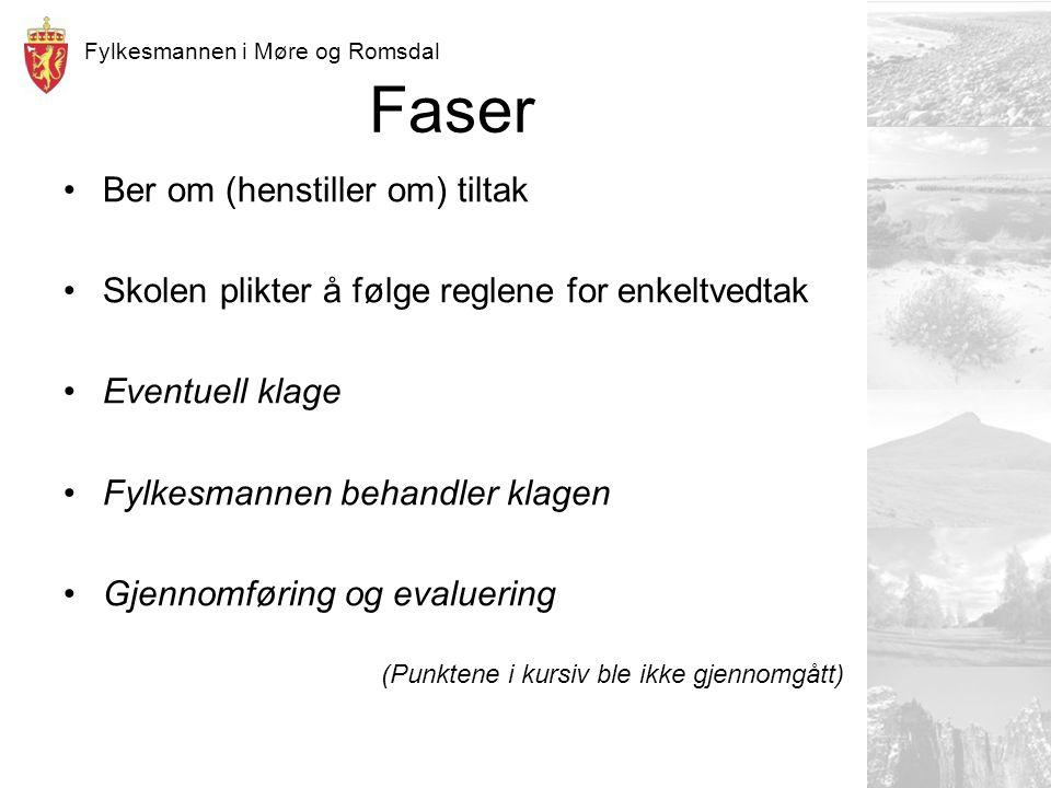 Fylkesmannen i Møre og Romsdal Faser Ber om (henstiller om) tiltak Skolen plikter å følge reglene for enkeltvedtak Eventuell klage Fylkesmannen behandler klagen Gjennomføring og evaluering (Punktene i kursiv ble ikke gjennomgått)