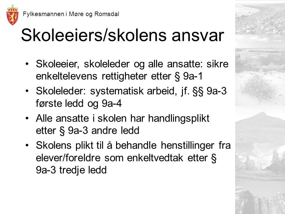 Fylkesmannen i Møre og Romsdal Skoleeiers/skolens ansvar Skoleeier, skoleleder og alle ansatte: sikre enkeltelevens rettigheter etter § 9a-1 Skoleleder: systematisk arbeid, jf.
