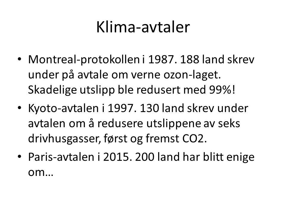 Klima-avtaler Montreal-protokollen i 1987. 188 land skrev under på avtale om verne ozon-laget.