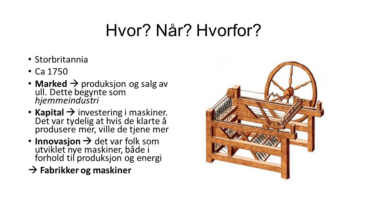 Hvor. Når. Hvorfor. Storbritannia Ca 1750 Marked  produksjon og salg av ull.