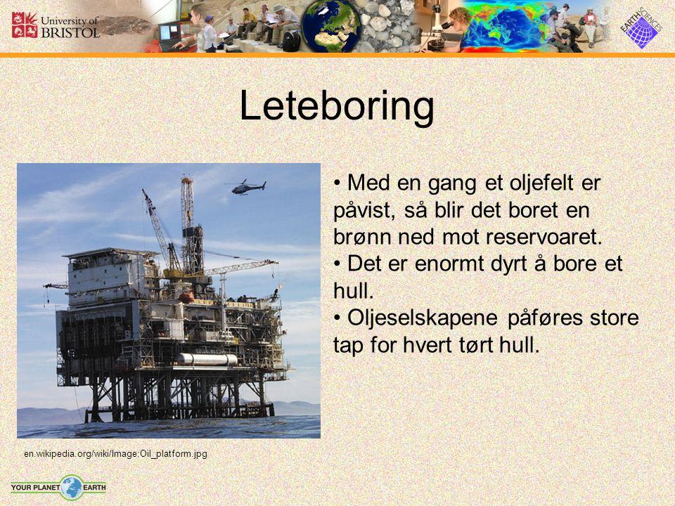 Leteboring Med en gang et oljefelt er påvist, så blir det boret en brønn ned mot reservoaret. Det er enormt dyrt å bore et hull. Oljeselskapene påføre