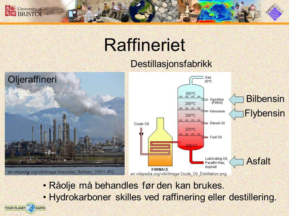 Raffineriet Råolje må behandles før den kan brukes. Hydrokarboner skilles ved raffinering eller destillering. Oljeraffineri Destillasjonsfabrikk en.wi